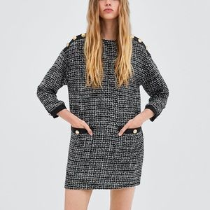 Zara black & white tweed dress with buttons